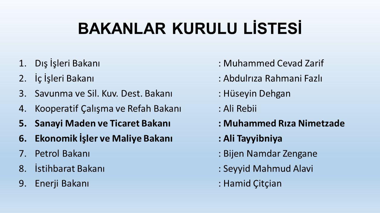 BAKANLAR KURULU LİSTESİ 1.Dış İşleri Bakanı: Muhammed Cevad Zarif 2.İç İşleri Bakanı: Abdulrıza Rahmani Fazlı 3.Savunma ve Sil.