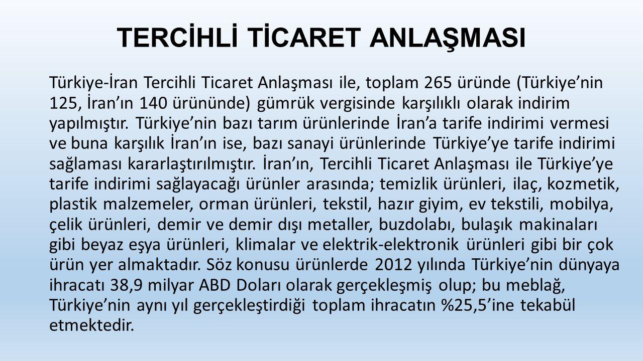 TERCİHLİ TİCARET ANLAŞMASI Türkiye-İran Tercihli Ticaret Anlaşması ile, toplam 265 üründe (Türkiye'nin 125, İran'ın 140 ürününde) gümrük vergisinde karşılıklı olarak indirim yapılmıştır.