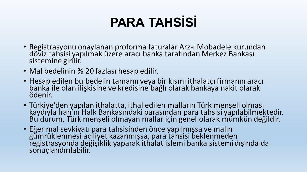 PARA TAHSİSİ Registrasyonu onaylanan proforma faturalar Arz-ı Mobadele kurundan döviz tahsisi yapılmak üzere aracı banka tarafından Merkez Bankası sistemine girilir.