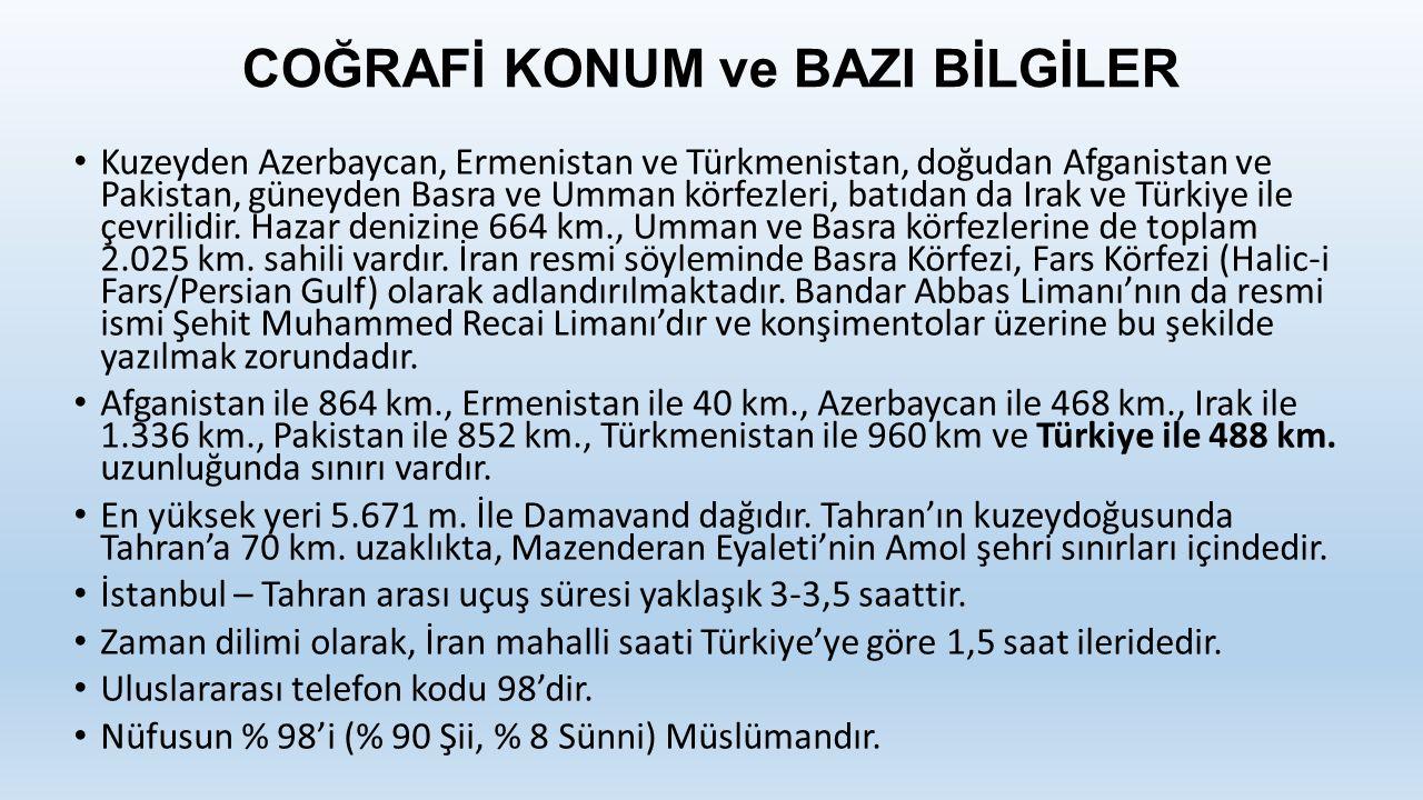 COĞRAFİ KONUM ve BAZI BİLGİLER Kuzeyden Azerbaycan, Ermenistan ve Türkmenistan, doğudan Afganistan ve Pakistan, güneyden Basra ve Umman körfezleri, batıdan da Irak ve Türkiye ile çevrilidir.