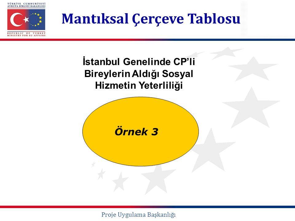 Örnek 3 Mantıksal Çerçeve Tablosu Proje Uygulama Başkanlığı İstanbul Genelinde CP'li Bireylerin Aldığı Sosyal Hizmetin Yeterliliği