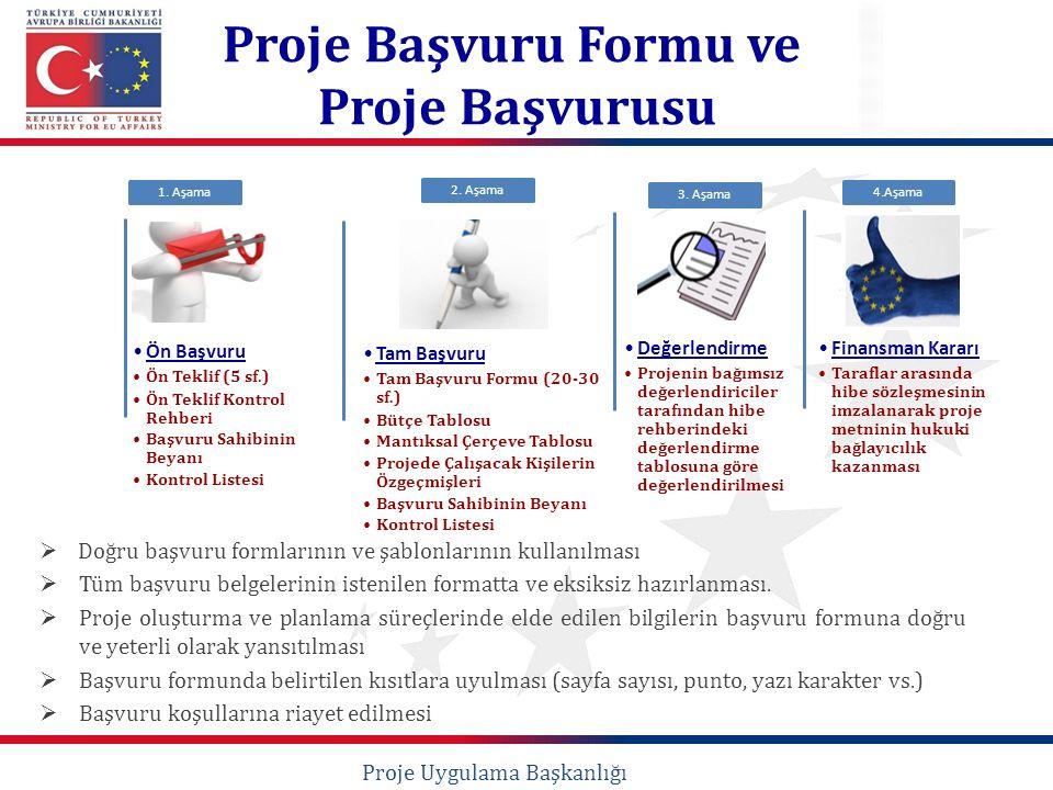  Doğru başvuru formlarının ve şablonlarının kullanılması  Tüm başvuru belgelerinin istenilen formatta ve eksiksiz hazırlanması.  Proje oluşturma ve