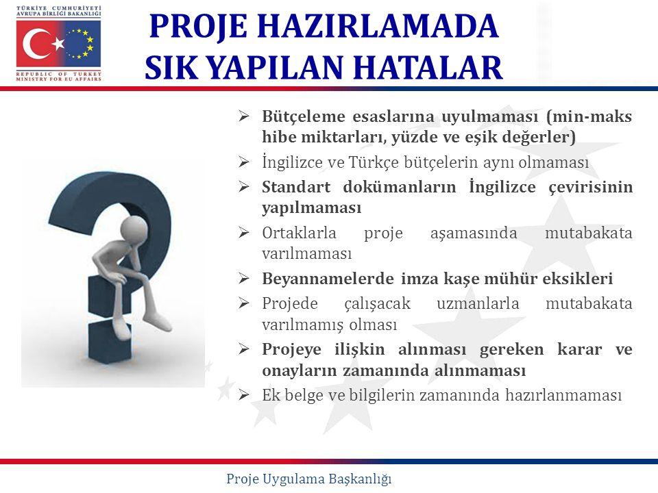  Bütçeleme esaslarına uyulmaması (min-maks hibe miktarları, yüzde ve eşik değerler)  İngilizce ve Türkçe bütçelerin aynı olmaması  Standart doküman