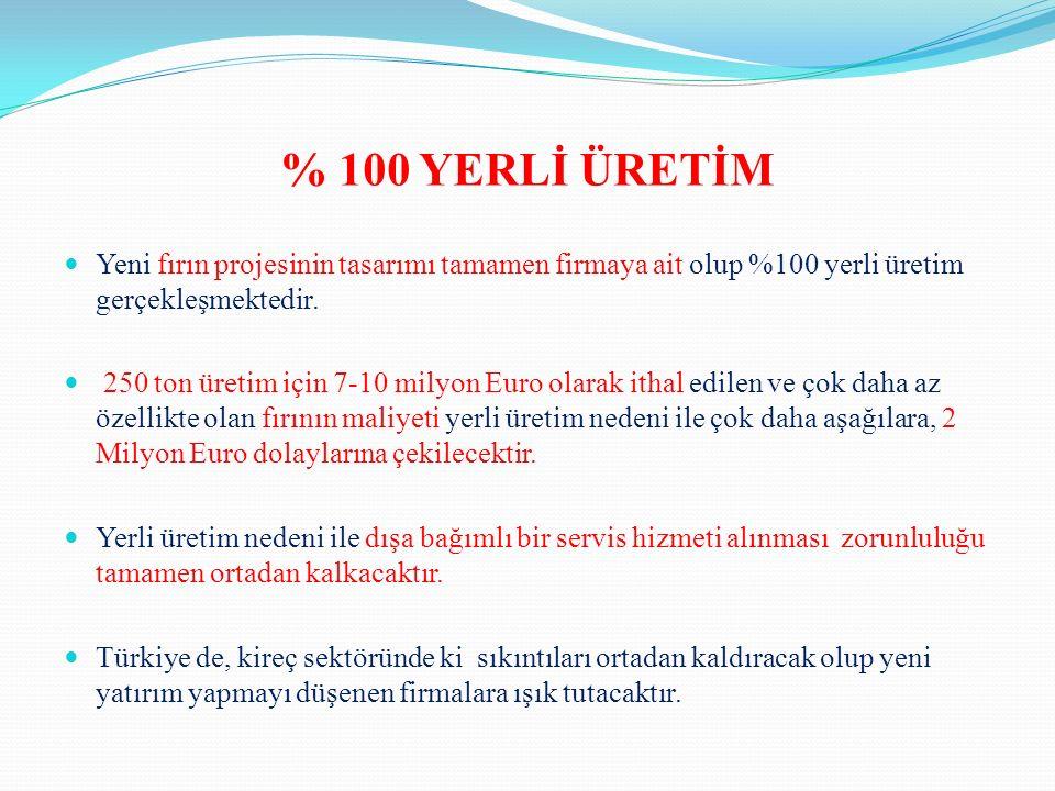 % 100 YERLİ ÜRETİM Yeni fırın projesinin tasarımı tamamen firmaya ait olup %100 yerli üretim gerçekleşmektedir.