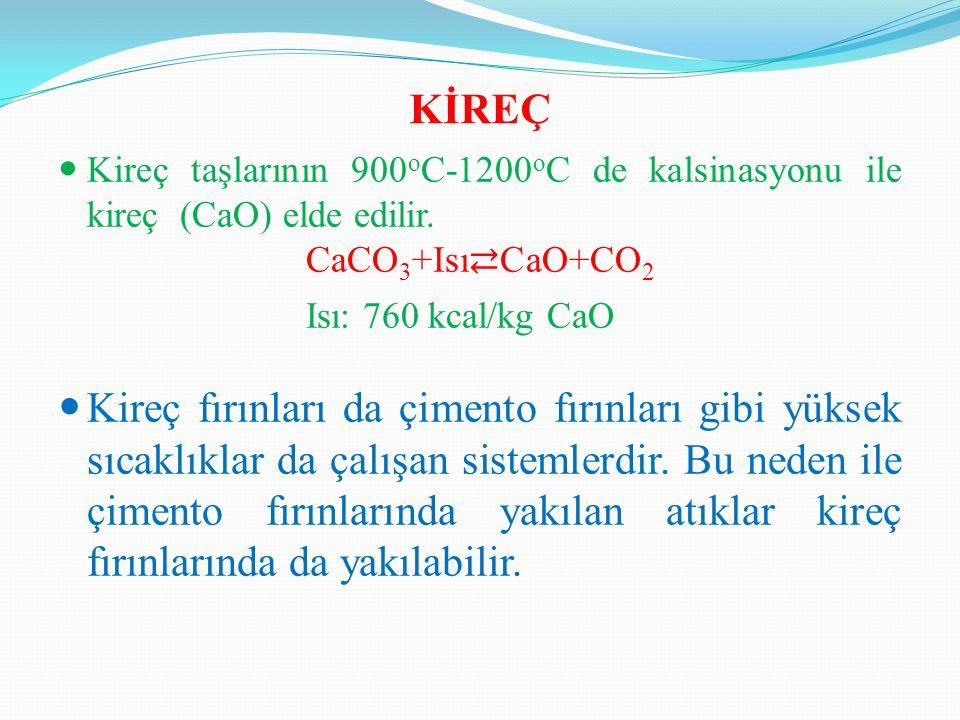 KİREÇ Kireç taşlarının 900 o C-1200 o C de kalsinasyonu ile kireç (CaO) elde edilir.