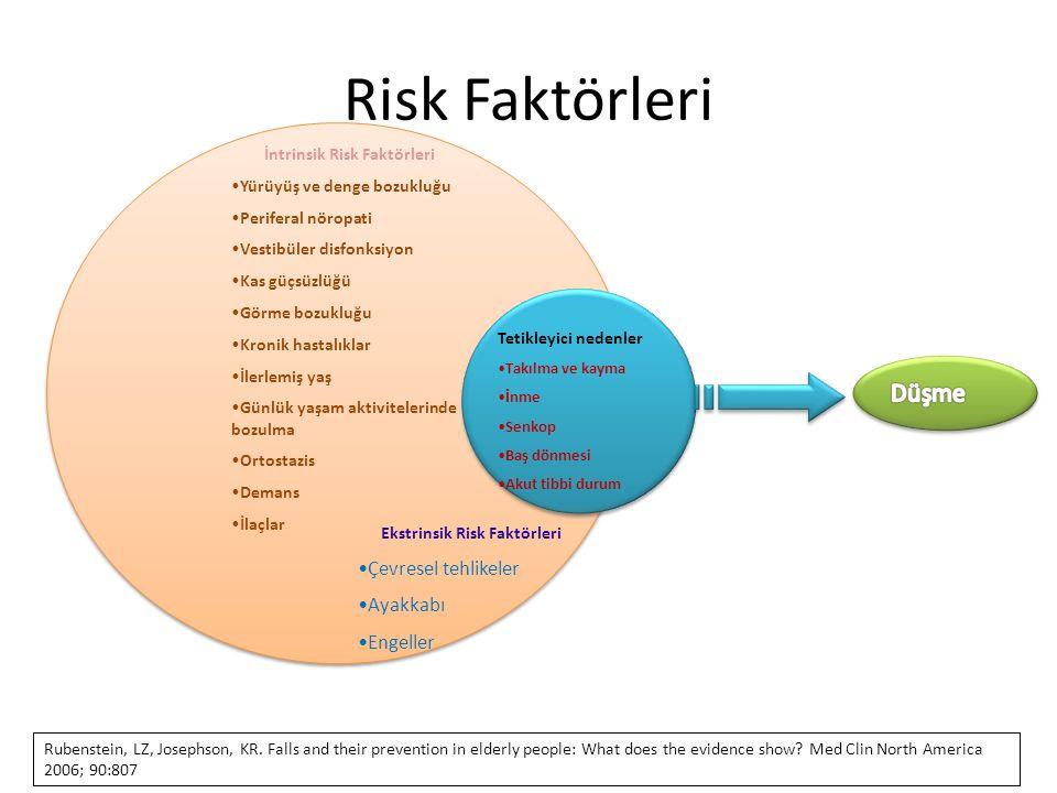 İntrinsik Risk Faktörleri Yürüyüş ve denge bozukluğu Periferal nöropati Vestibüler disfonksiyon Kas güçsüzlüğü Görme bozukluğu Kronik hastalıklar İler