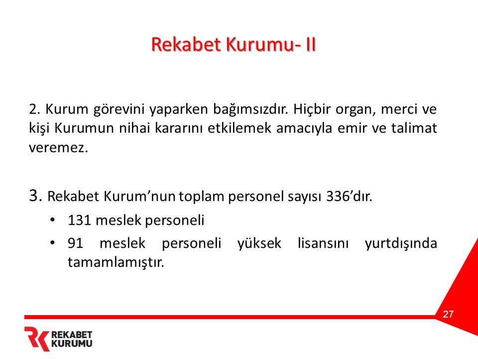 Rekabet Kurumu- II 2. Kurum görevini yaparken bağımsızdır.