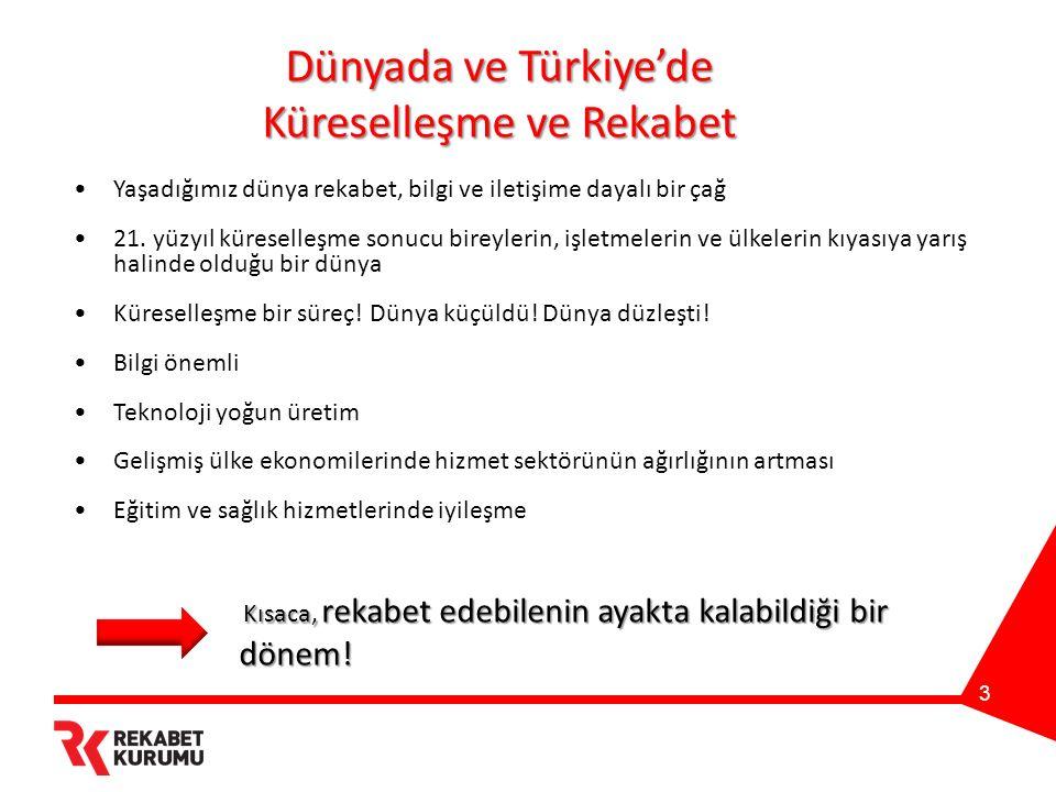 3 Dünyada ve Türkiye'de Küreselleşme ve Rekabet Yaşadığımız dünya rekabet, bilgi ve iletişime dayalı bir çağ 21.