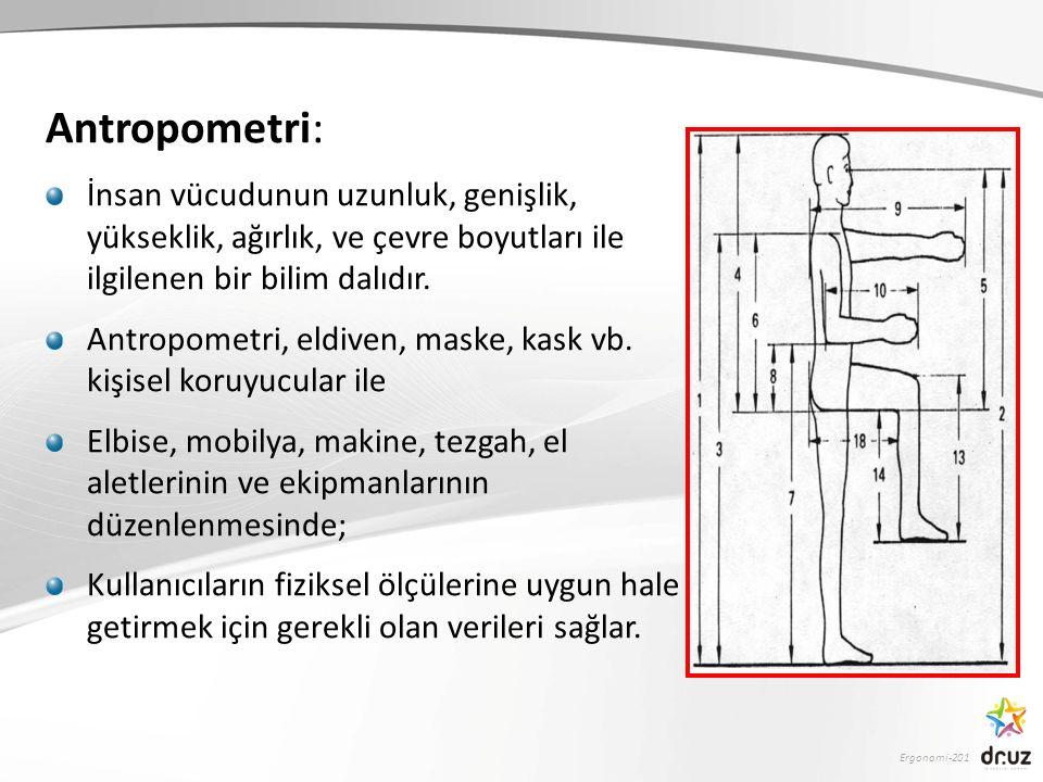 Ergonomi-201 Antropometri: İnsan vücudunun uzunluk, genişlik, yükseklik, ağırlık, ve çevre boyutları ile ilgilenen bir bilim dalıdır.