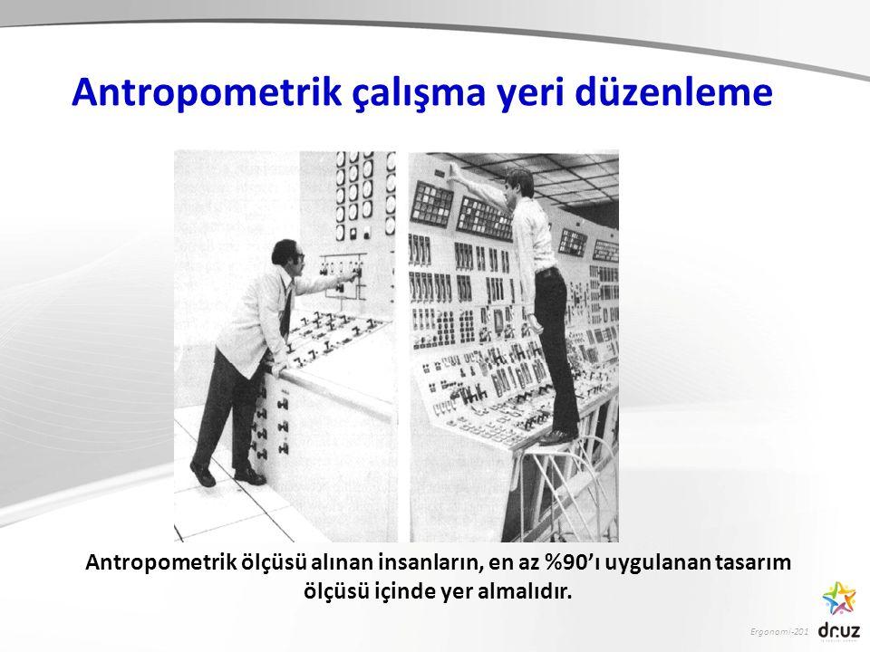 Antropometrik çalışma yeri düzenleme Antropometrik ölçüsü alınan insanların, en az %90'ı uygulanan tasarım ölçüsü içinde yer almalıdır.