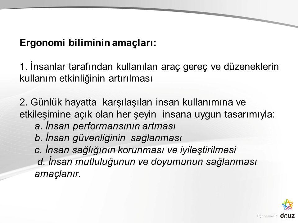 Ergonomi-201 Ergonomi biliminin amaçları: 1.