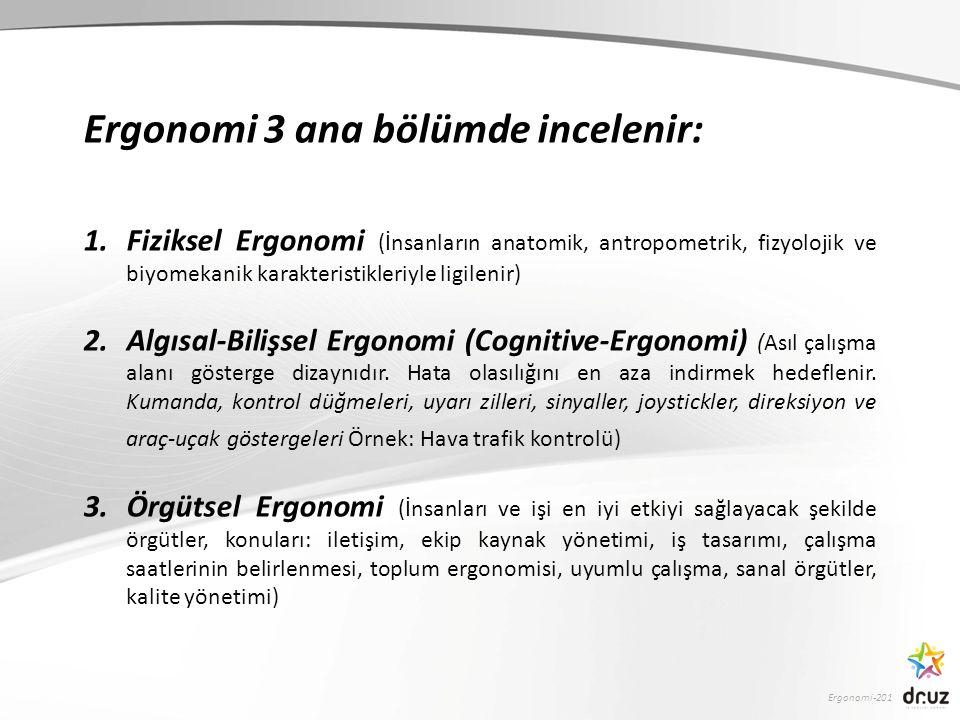 Ergonomi-201 Ergonomi 3 ana bölümde incelenir: 1.Fiziksel Ergonomi (İnsanların anatomik, antropometrik, fizyolojik ve biyomekanik karakteristikleriyle ligilenir) 2.Algısal-Bilişsel Ergonomi (Cognitive-Ergonomi) (Asıl çalışma alanı gösterge dizaynıdır.