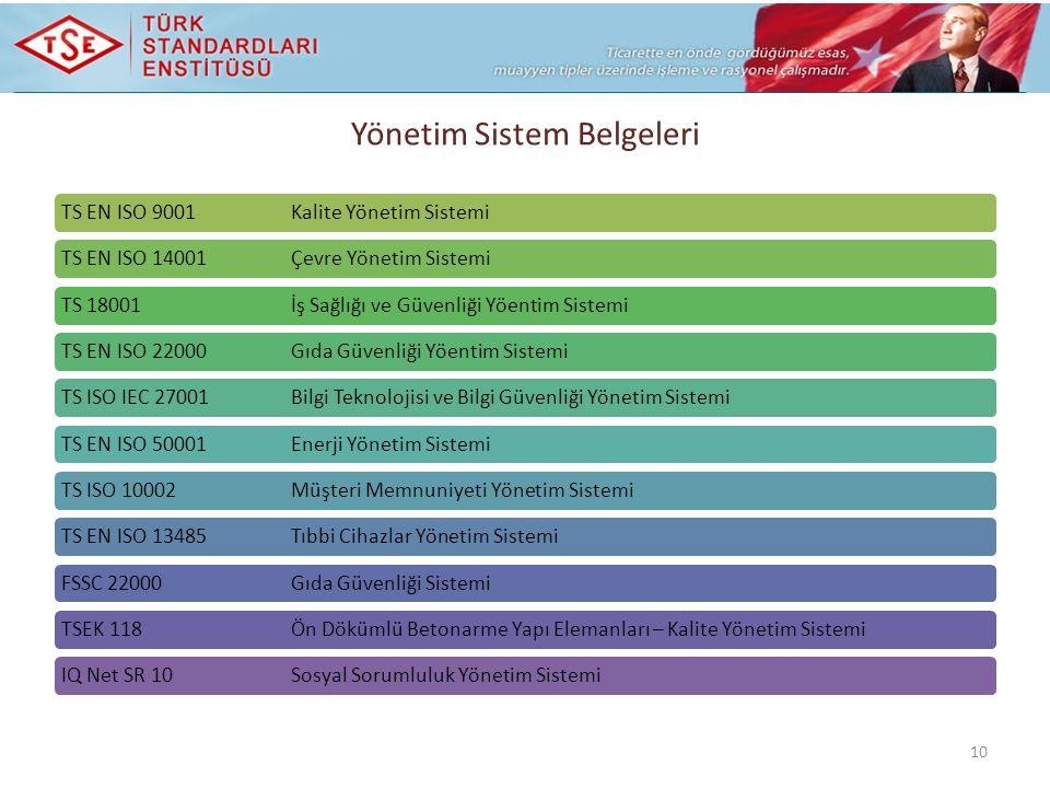 TS EN ISO 9001 Kalite Yönetim SistemiTS EN ISO 14001 Çevre Yönetim SistemiTS 18001 İş Sağlığı ve Güvenliği Yöentim SistemiTS EN ISO 22000 Gıda Güvenliği Yöentim SistemiTS ISO IEC 27001 Bilgi Teknolojisi ve Bilgi Güvenliği Yönetim SistemiTS EN ISO 50001 Enerji Yönetim SistemiTS ISO 10002 Müşteri Memnuniyeti Yönetim SistemiTS EN ISO 13485 Tıbbi Cihazlar Yönetim SistemiFSSC 22000 Gıda Güvenliği SistemiTSEK 118 Ön Dökümlü Betonarme Yapı Elemanları – Kalite Yönetim SistemiIQ Net SR 10 Sosyal Sorumluluk Yönetim Sistemi 10 Yönetim Sistem Belgeleri
