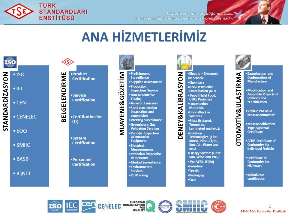 ANA HİZMETLERİMİZ 2 ©2014 Türk Standartları Enstitüsü STANDARDİZASYON ISO IEC CEN CENELEC EOQ SMIIC BASB IQNET BELGELENDİRME Product Certification Service Certification Certification for (IT) System Certification Personnel Certification MUAYENE&GÖZETİM PreShipment Surveillance Supplier Assessment Production Inspection Service Non-Destructive Testing Acoustic Emission Steel construction iinspection and supervision Welding Surveillance Greenhouse Gas Validation Services Periodic Inspection Of Industrial Equipment Electrical Measurements Periodical inspection of elevators Market Surveillance Environmental Services CE Marking DENEY&KALİBRASYON Electric – Electronic Mechanic Chemistry Non-Destructive Examination (NDT Food (Halal Food, GDO, Pestisite) Construction Materials Door-Window Systems Glass (Isolated, Tempered, Laminated and etc.); Isolation Technologies (Fire, Sound, Heat, Light, Sun, Air, Water and etc.) Energy System (Heat, Sun, Wind and etc.) Ex (ATEX, IECEx) Furniture Textile Packaging Coal OTOMOTİV&ULAŞTIRMA Examination and Confirmation of Manufacture Modification and Assembly Projects of Vehicles and Certification Vehicle Pro Mud Mass Manufacture Mass Modification Type Approval Certificate AITM Certificate of Conformity for Individual Vehicle Certificate of Conformity for Highways ambulance certification