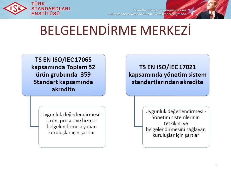 BELGELENDİRME MERKEZİ 6 TS EN ISO/IEC 17065 kapsamında Toplam 52 ürün grubunda 359 Standart kapsamında akredite Uygunluk değerlendirmesi - Ürün, proses ve hizmet belgelendirmesi yapan kuruluşlar için şartlar TS EN ISO/IEC 17021 kapsamında yönetim sistem standartlarından akredite Uygunluk değerlendirmesi - Yönetim sistemlerinin tetkikini ve belgelendirmesini sağlayan kuruluşlar için şartlar