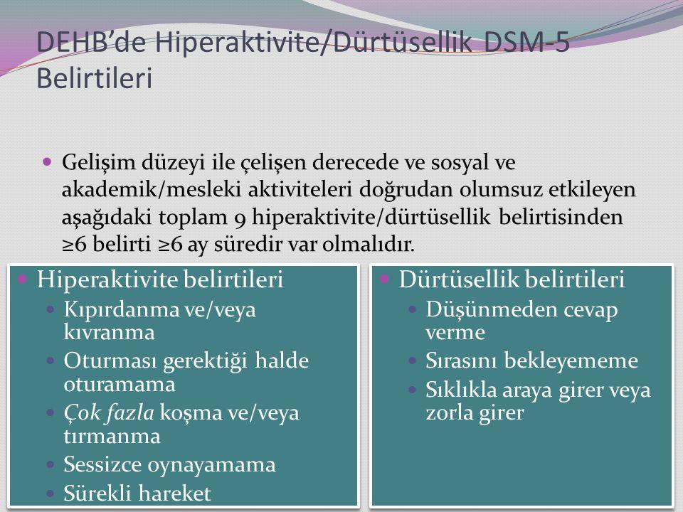 DEHB'de Hiperaktivite/Dürtüsellik DSM-5 Belirtileri Gelişim düzeyi ile çelişen derecede ve sosyal ve akademik/mesleki aktiviteleri doğrudan olumsuz etkileyen aşağıdaki toplam 9 hiperaktivite/dürtüsellik belirtisinden ≥6 belirti ≥6 ay süredir var olmalıdır.
