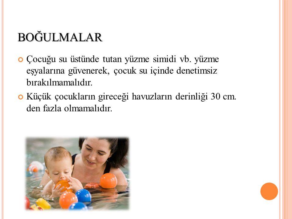 BOĞULMALAR Çocuğu su üstünde tutan yüzme simidi vb. yüzme eşyalarına güvenerek, çocuk su içinde denetimsiz bırakılmamalıdır. Küçük çocukların gireceği