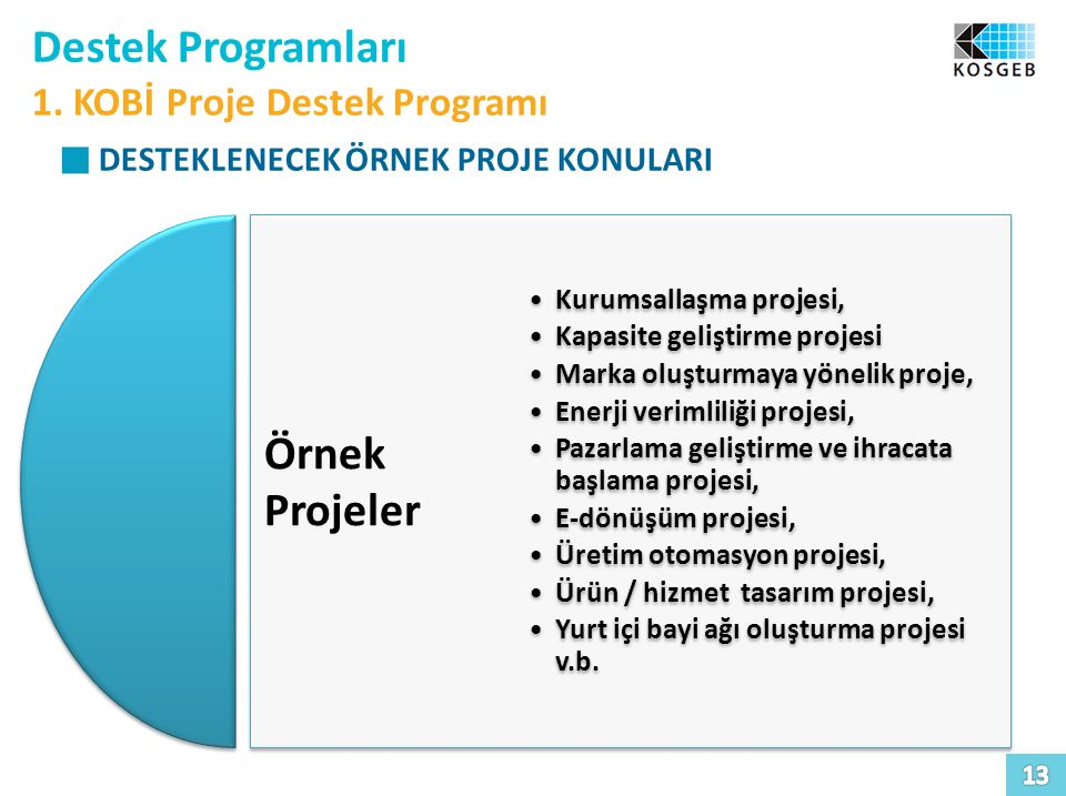 Destek Programları 1. KOBİ Proje Destek Programı DESTEKLENECEK ÖRNEK PROJE KONULARI Örnek Projeler Örnek Projeler Kurumsallaşma projesi, Kapasite geli
