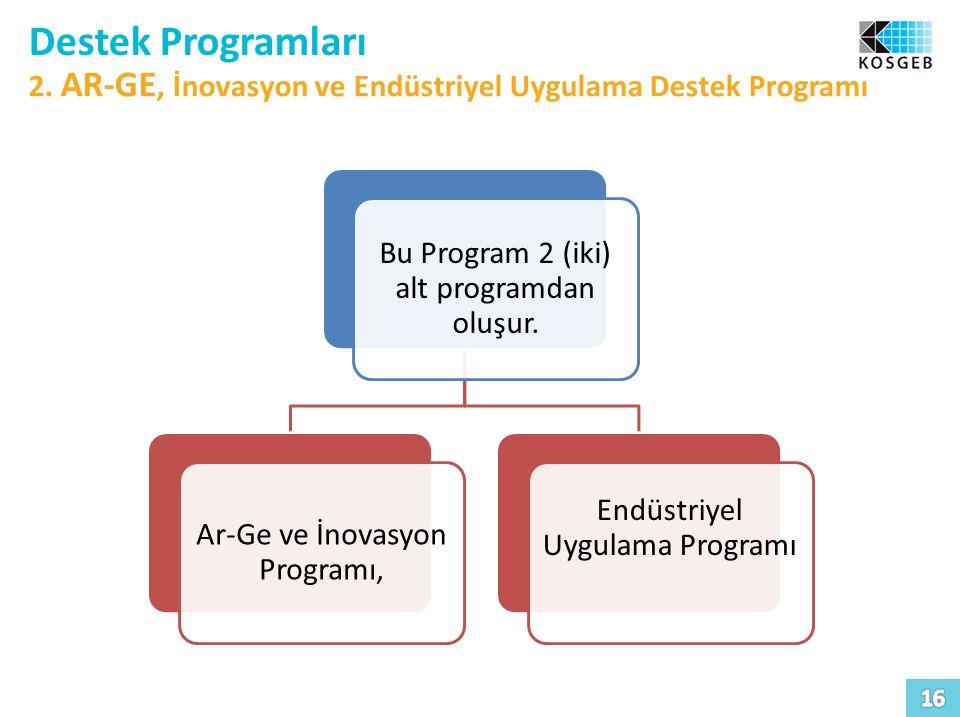 Destek Programları 2. AR-GE, İnovasyon ve Endüstriyel Uygulama Destek Programı Bu Program 2 (iki) alt programdan oluşur. Ar-Ge ve İnovasyon Programı,