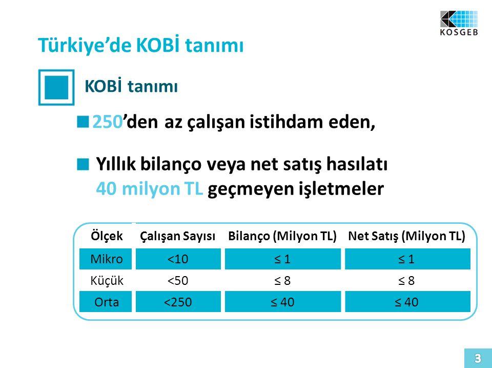 Türkiye'de KOBİ tanımı KOBİ tanımı 250'den az çalışan istihdam eden, Yıllık bilanço veya net satış hasılatı 40 milyon TL geçmeyen işletmeler ÖlçekÇalı