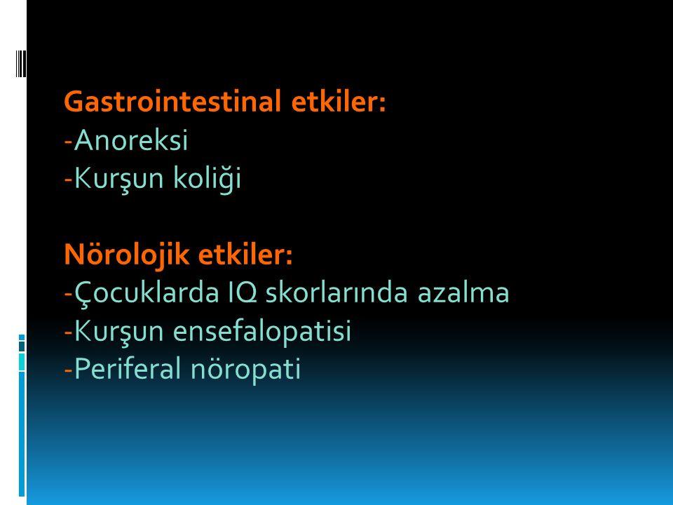 Gastrointestinal etkiler: -Anoreksi -Kurşun koliği Nörolojik etkiler: -Çocuklarda IQ skorlarında azalma -Kurşun ensefalopatisi -Periferal nöropati