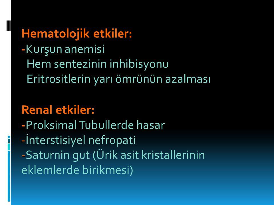 Hematolojik etkiler: -Kurşun anemisi Hem sentezinin inhibisyonu Hem sentezinin inhibisyonu Eritrositlerin yarı ömrünün azalması Eritrositlerin yarı ömrünün azalması Renal etkiler: - -Proksimal Tubullerde hasar - -İnterstisiyel nefropati - -Saturnin gut (Ürik asit kristallerinin eklemlerde birikmesi)