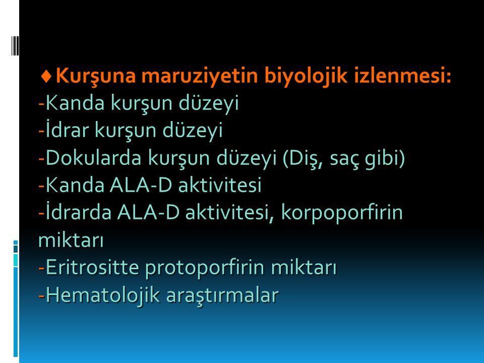  Kurşuna maruziyetin biyolojik izlenmesi: -Kanda kurşun düzeyi -İdrar kurşun düzeyi -Dokularda kurşun düzeyi (Diş, saç gibi) -Kanda ALA-D aktivitesi -İdrarda ALA-D aktivitesi, korpoporfirin miktarı -Eritrositte protoporfirin miktarı -Hematolojik araştırmalar
