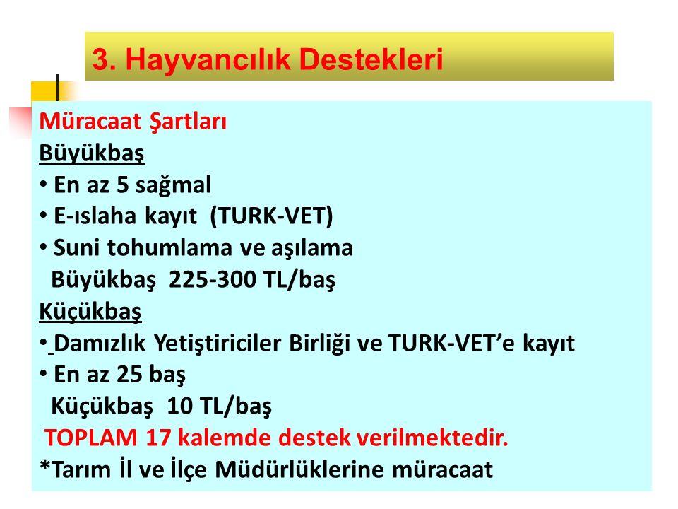 3. Hayvancılık Destekleri Müracaat Şartları Büyükbaş En az 5 sağmal E-ıslaha kayıt (TURK-VET) Suni tohumlama ve aşılama Büyükbaş 225-300 TL/baş Küçükb