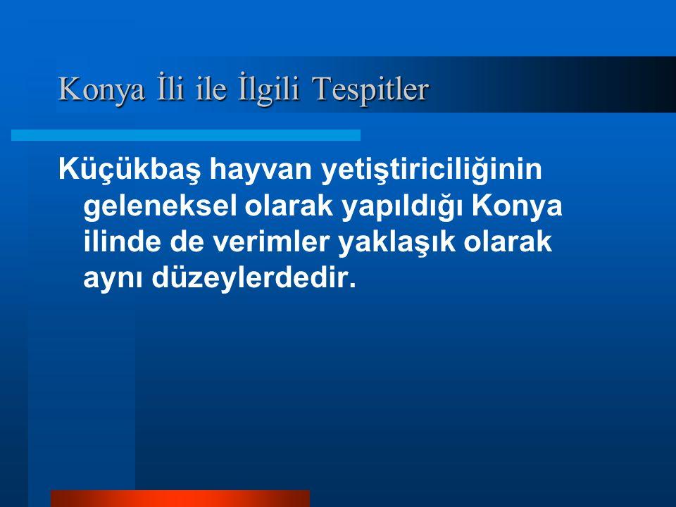 Konya İli ile İlgili Tespitler Küçükbaş hayvan yetiştiriciliğinin geleneksel olarak yapıldığı Konya ilinde de verimler yaklaşık olarak aynı düzeylerdedir.