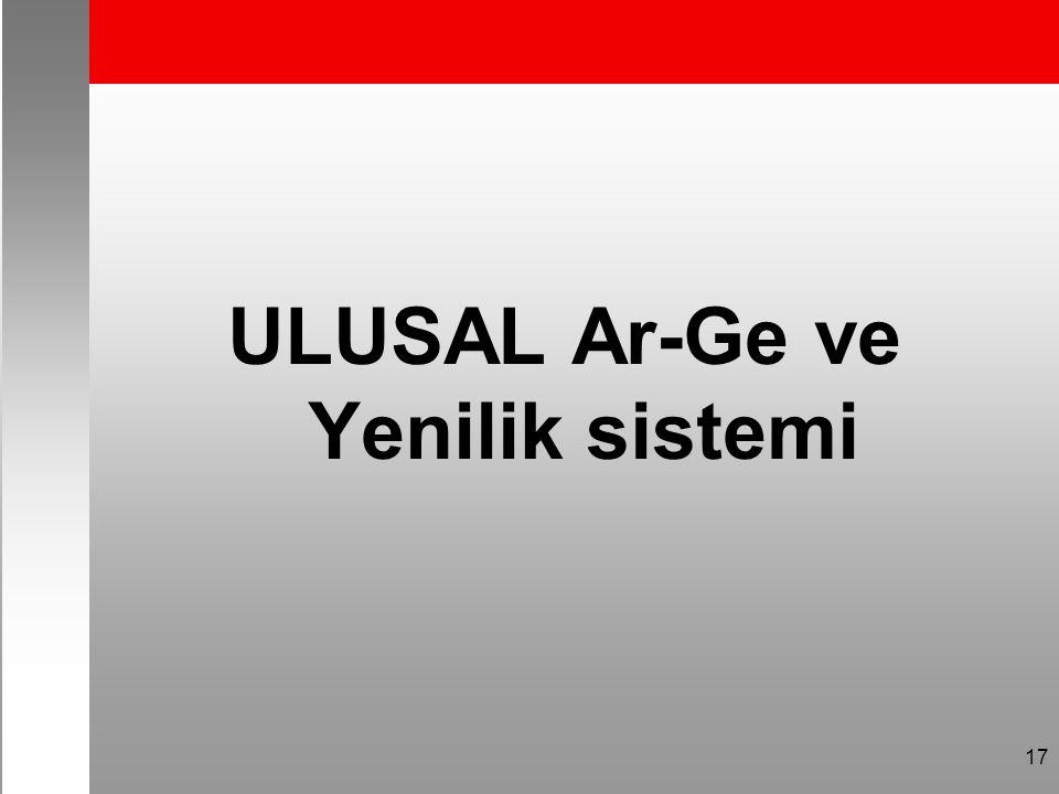 ULUSAL Ar-Ge ve Yenilik sistemi 17