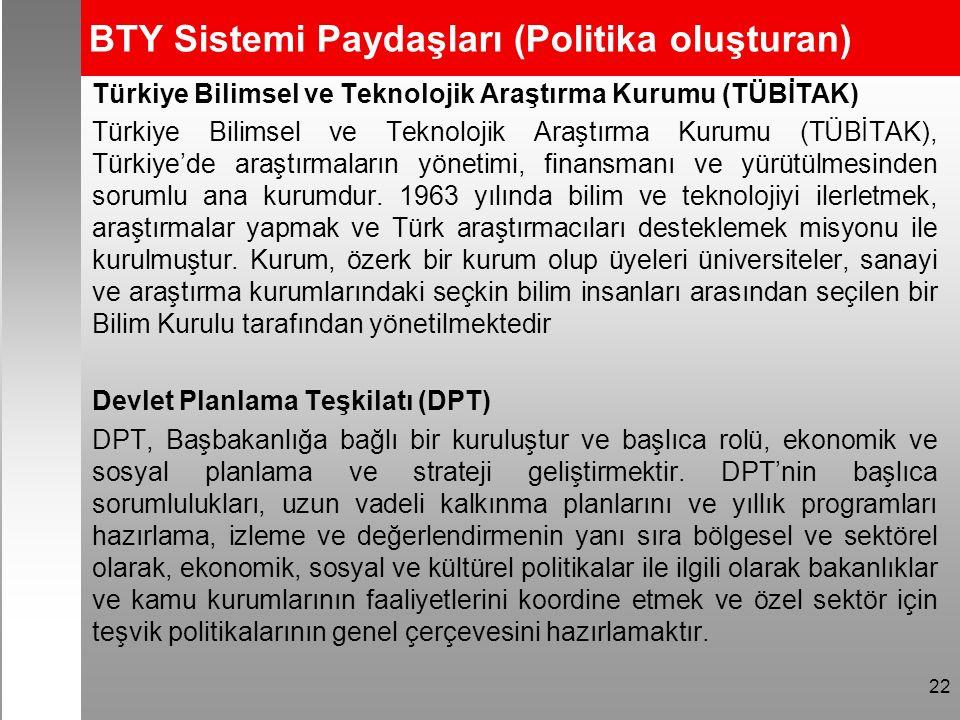BTY Sistemi Paydaşları (Politika oluşturan) Türkiye Bilimsel ve Teknolojik Araştırma Kurumu (TÜBİTAK) Türkiye Bilimsel ve Teknolojik Araştırma Kurumu (TÜBİTAK), Türkiye'de araştırmaların yönetimi, finansmanı ve yürütülmesinden sorumlu ana kurumdur.