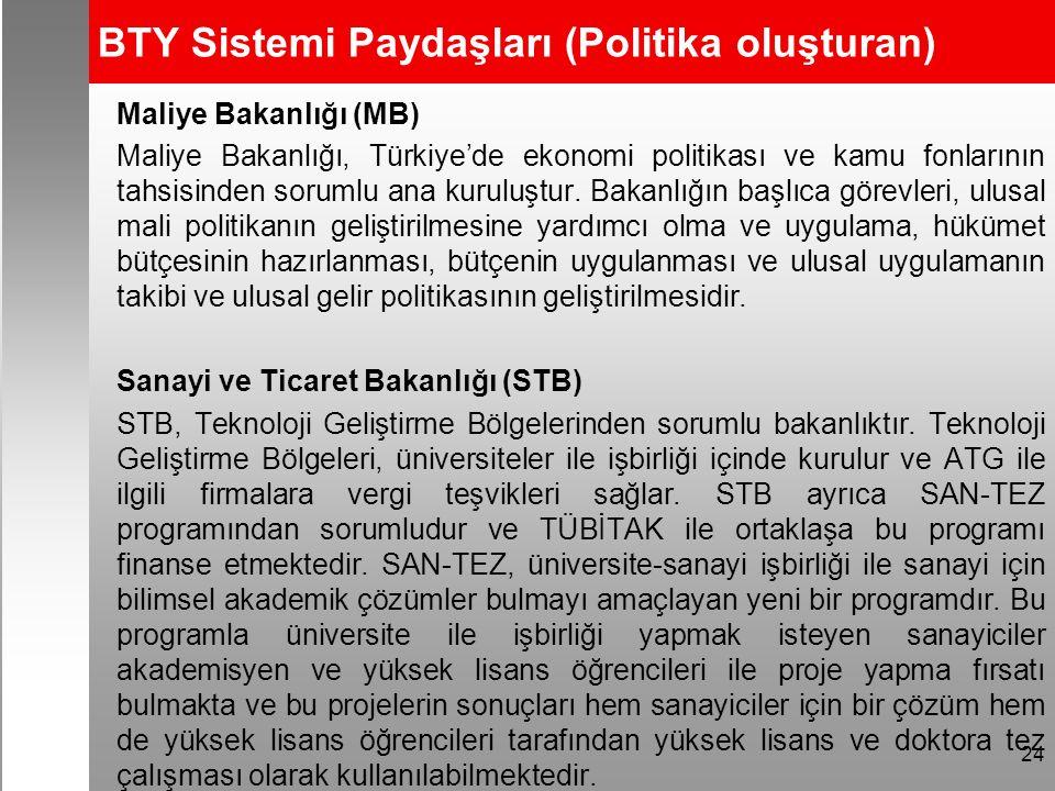 BTY Sistemi Paydaşları (Politika oluşturan) Maliye Bakanlığı (MB) Maliye Bakanlığı, Türkiye'de ekonomi politikası ve kamu fonlarının tahsisinden sorumlu ana kuruluştur.