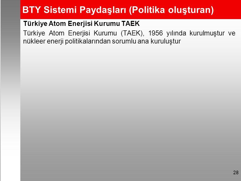 BTY Sistemi Paydaşları (Politika oluşturan) Türkiye Atom Enerjisi Kurumu TAEK Türkiye Atom Enerjisi Kurumu (TAEK), 1956 yılında kurulmuştur ve nükleer enerji politikalarından sorumlu ana kuruluştur 28