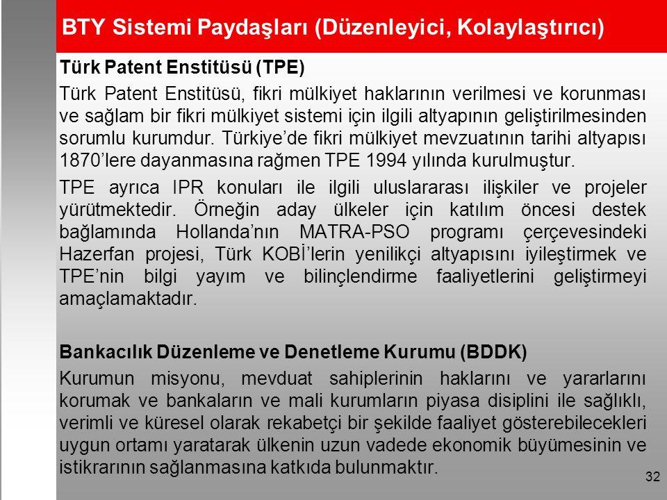 BTY Sistemi Paydaşları (Düzenleyici, Kolaylaştırıcı) Türk Patent Enstitüsü (TPE) Türk Patent Enstitüsü, fikri mülkiyet haklarının verilmesi ve korunması ve sağlam bir fikri mülkiyet sistemi için ilgili altyapının geliştirilmesinden sorumlu kurumdur.