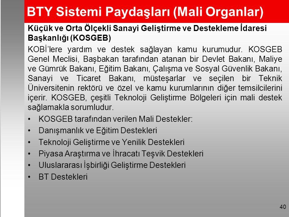 BTY Sistemi Paydaşları (Mali Organlar) Küçük ve Orta Ölçekli Sanayi Geliştirme ve Destekleme İdaresi Başkanlığı (KOSGEB) KOBİ'lere yardım ve destek sağlayan kamu kurumudur.