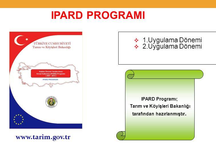  1.Uygulama Dönemi  2.Uygulama Dönemi www.tarim.gov.tr IPARD PROGRAMI IPARD Programı; Tarım ve Köyişleri Bakanlığı tarafından hazırlanmıştır.