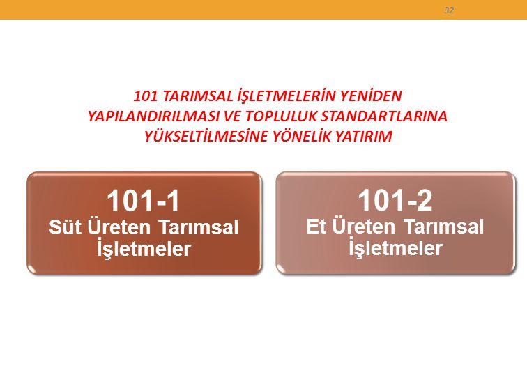 101 TARIMSAL İŞLETMELERİN YENİDEN YAPILANDIRILMASI VE TOPLULUK STANDARTLARINA YÜKSELTİLMESİNE YÖNELİK YATIRIM 32