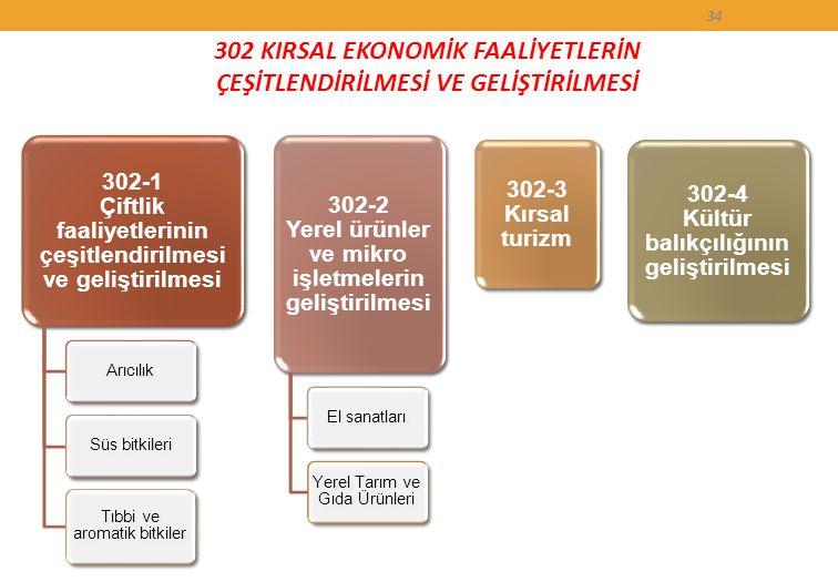 302 KIRSAL EKONOMİK FAALİYETLERİN ÇEŞİTLENDİRİLMESİ VE GELİŞTİRİLMESİ 34