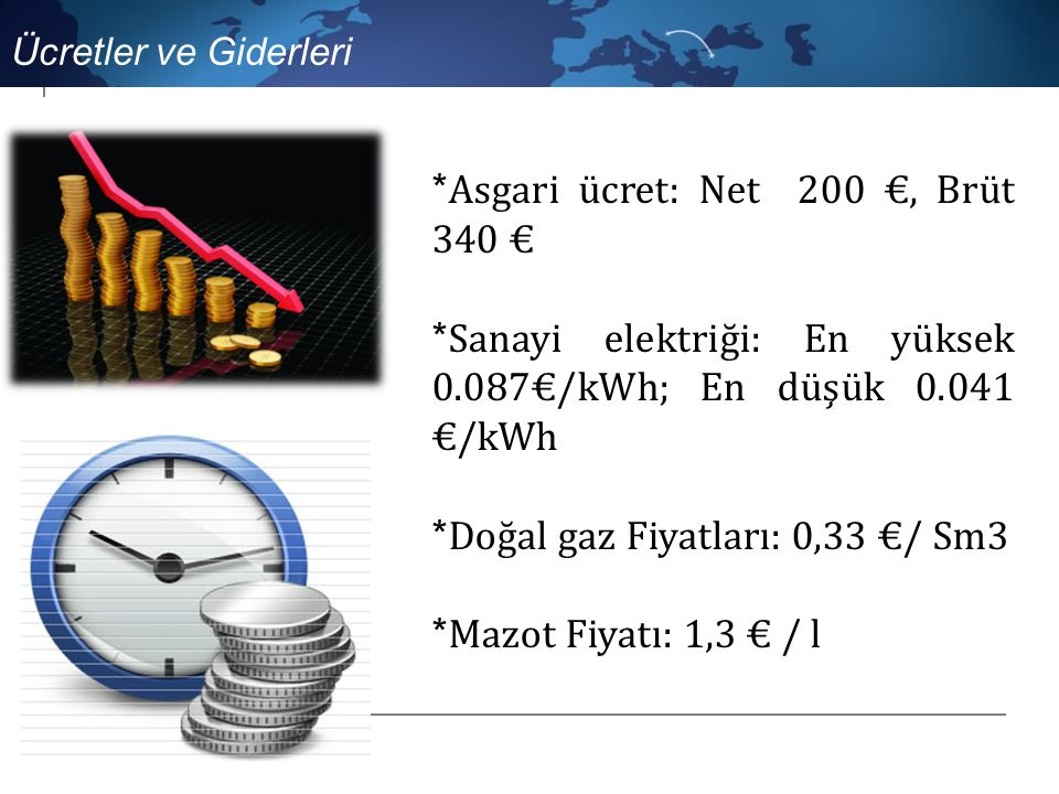 * Asgari ücret: Net 200 €, Brüt 340 € * Sanayi elektriği: En yüksek 0.087€/kWh; En düşük 0.041 €/kWh * Doğal gaz Fiyatları: 0,33 €/ Sm3 * Mazot Fiyatı: 1,3 € / l Ücretler ve Giderleri