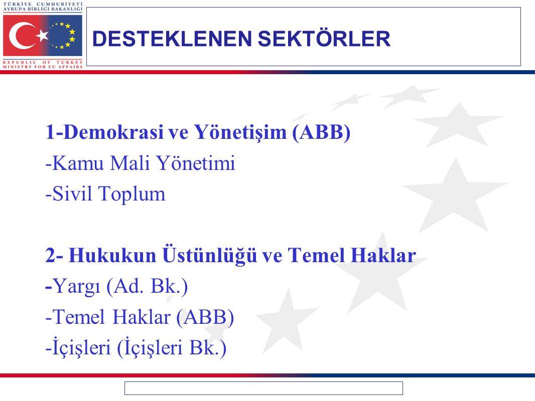 1-Demokrasi ve Yönetişim (ABB) -Kamu Mali Yönetimi -Sivil Toplum 2- Hukukun Üstünlüğü ve Temel Haklar -Yargı (Ad.