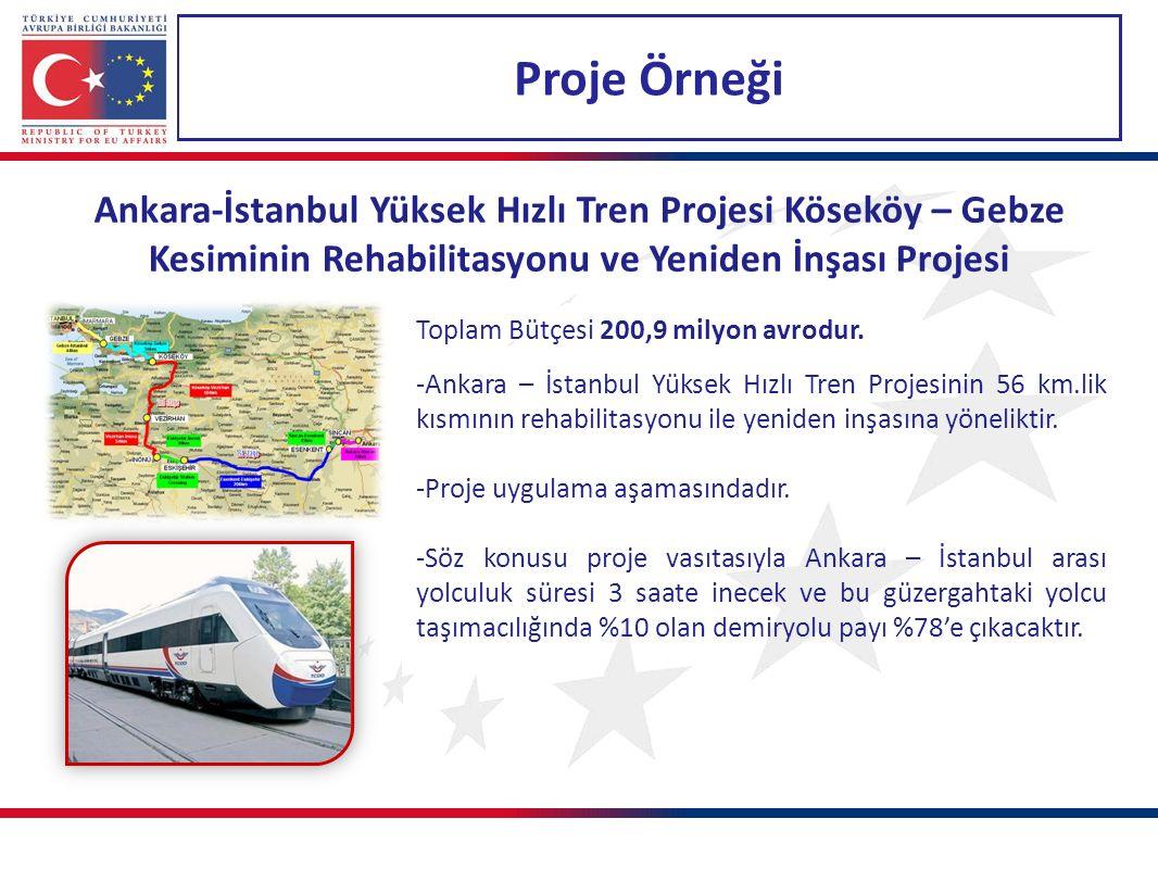 Proje Örneği Ankara-İstanbul Yüksek Hızlı Tren Projesi Köseköy – Gebze Kesiminin Rehabilitasyonu ve Yeniden İnşası Projesi Toplam Bütçesi 200,9 milyon avrodur.