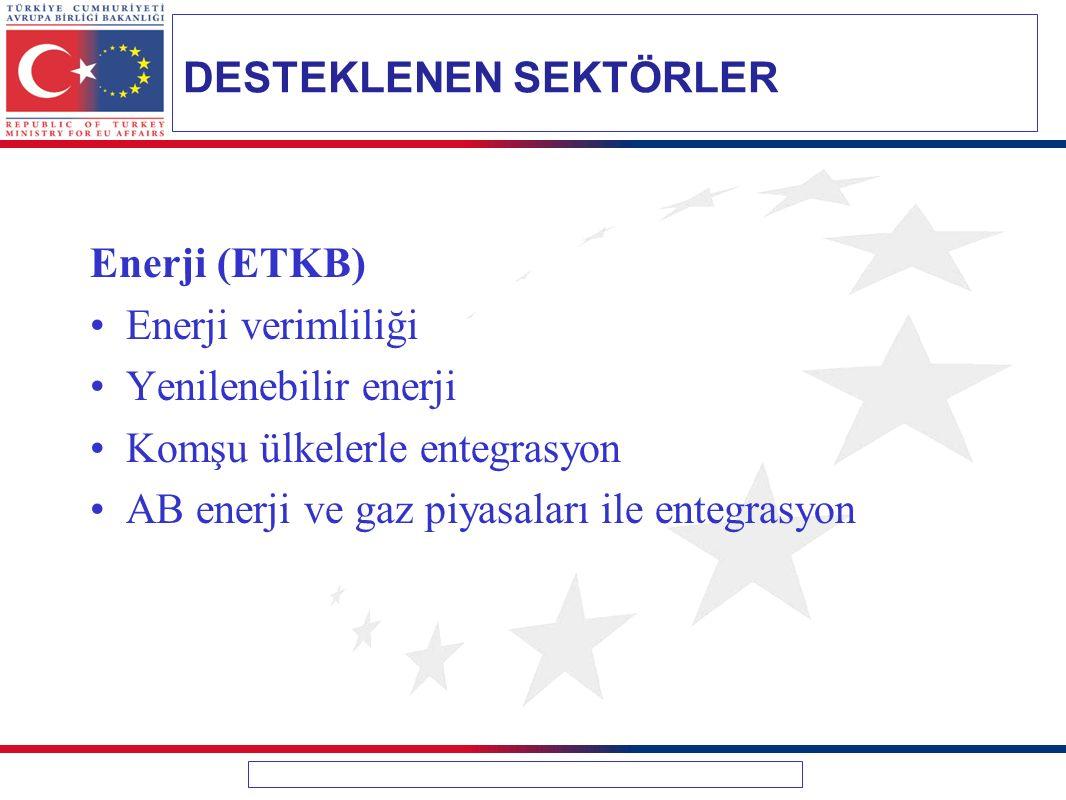 Enerji (ETKB) Enerji verimliliği Yenilenebilir enerji Komşu ülkelerle entegrasyon AB enerji ve gaz piyasaları ile entegrasyon DESTEKLENEN SEKTÖRLER