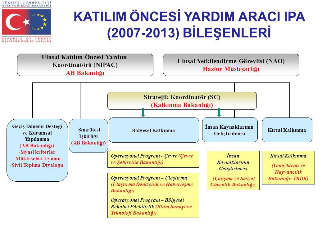 Stratejik Koordinatör (SC) (Kalkınma Bakanlığı) Bölgesel Kalkınma Geçiş Dönemi Desteği ve Kurumsal Yapılanma (AB Bakanlığı) -Siyasi kriterler -Müktesebat Uyumu -Sivil Toplum Diyalogu Sınırötesi İşbirliği (AB Bakanlığı) İnsan Kaynaklarının Geliştirilmesi Kırsal Kalkınma Operasyonel Program - Çevre (Çevre ve Şehircilik Bakanlığı) Operasyonel Program – Ulaştırma (Ulaştırma Denizcilik ve Haberleşme Bakanlığı) Operasyonel Program – Bölgesel Rekabet Edebilirlik (Bilim,Sanayi ve Teknoloji Bakanlığı) İnsan Kaynaklarının Geliştirlmesi (Çalışma ve Sosyal Güvenlik Bakanlığı) Kırsal Kalkınma (Gıda,Tarım ve Hayvancılık Bakanlığı- TKDK) Ulusal Katılım Öncesi Yardım Koordinatörü (NIPAC) AB Bakanlığı Ulusal Yetkilendirme Görevlisi (NAO) Hazine Müsteşarlığı KATILIM ÖNCESİ YARDIM ARACI IPA (2007-2013) BİLEŞENLERİ