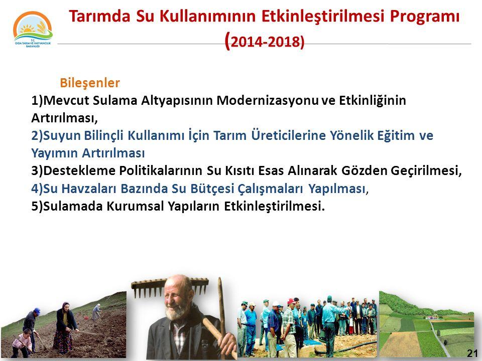 Tarımda Su Kullanımının Etkinleştirilmesi Programı ( 2014-2018) Bileşenler 1)Mevcut Sulama Altyapısının Modernizasyonu ve Etkinliğinin Artırılması, 2)Suyun Bilinçli Kullanımı İçin Tarım Üreticilerine Yönelik Eğitim ve Yayımın Artırılması 3)Destekleme Politikalarının Su Kısıtı Esas Alınarak Gözden Geçirilmesi, 4)Su Havzaları Bazında Su Bütçesi Çalışmaları Yapılması, 5)Sulamada Kurumsal Yapıların Etkinleştirilmesi.