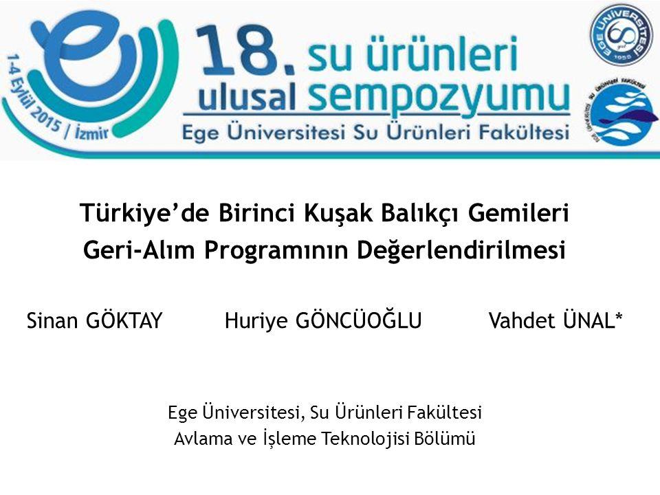 Türkiye'de Birinci Kuşak Balıkçı Gemileri Geri-Alım Programının Değerlendirilmesi Sinan GÖKTAYHuriye GÖNCÜOĞLUVahdet ÜNAL* Ege Üniversitesi, Su Ürünle