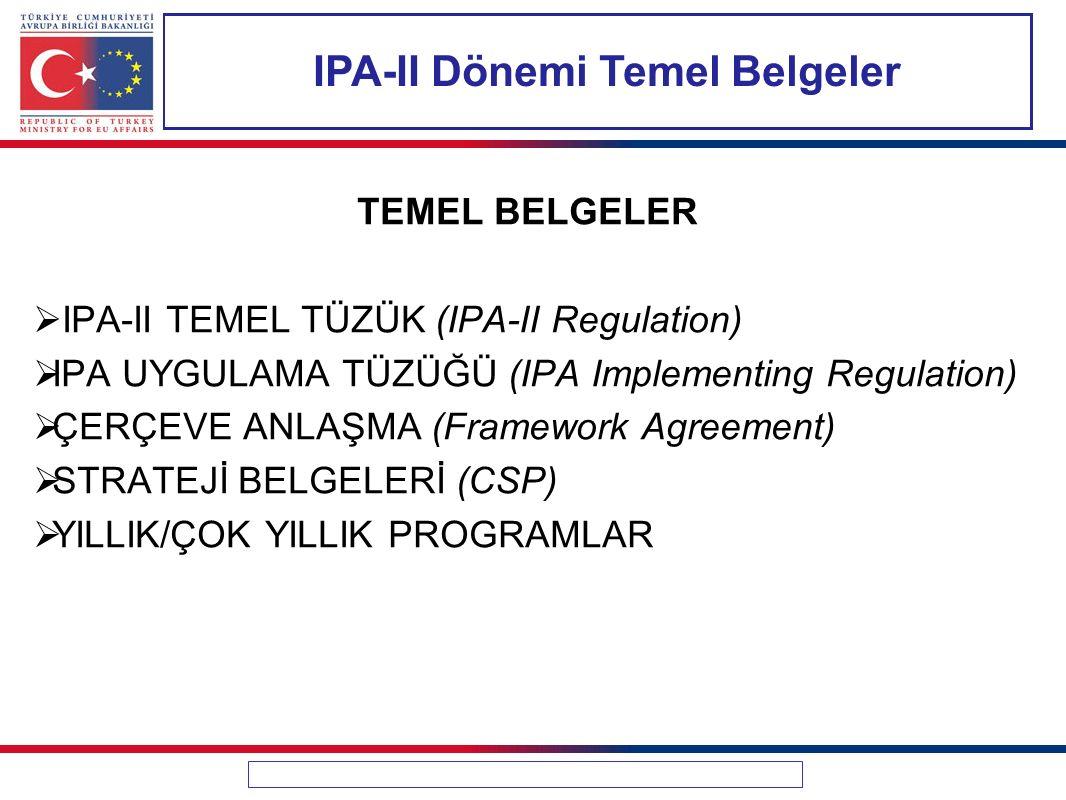 IPA-II Dönemi Temel Belgeler TEMEL BELGELER  IPA-II TEMEL TÜZÜK (IPA-II Regulation)  IPA UYGULAMA TÜZÜĞÜ (IPA Implementing Regulation)  ÇERÇEVE ANL