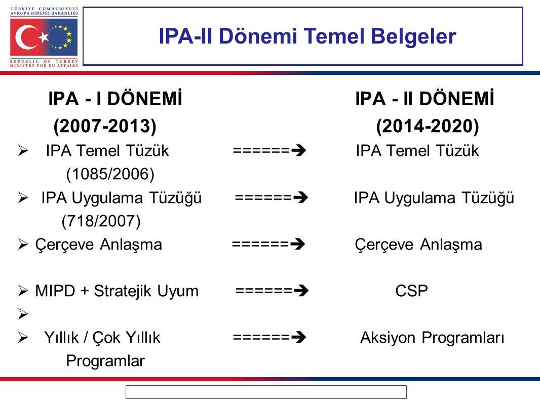 IPA-II Dönemi Temel Belgeler IPA - I DÖNEMİ IPA - II DÖNEMİ (2007-2013) (2014-2020)  IPA Temel Tüzük ======  IPA Temel Tüzük (1085/2006)  IPA Uygulama Tüzüğü ======  IPA Uygulama Tüzüğü (718/2007)  Çerçeve Anlaşma ======  Çerçeve Anlaşma  MIPD + Stratejik Uyum ======  CSP   Yıllık / Çok Yıllık ======  Aksiyon Programları Programlar