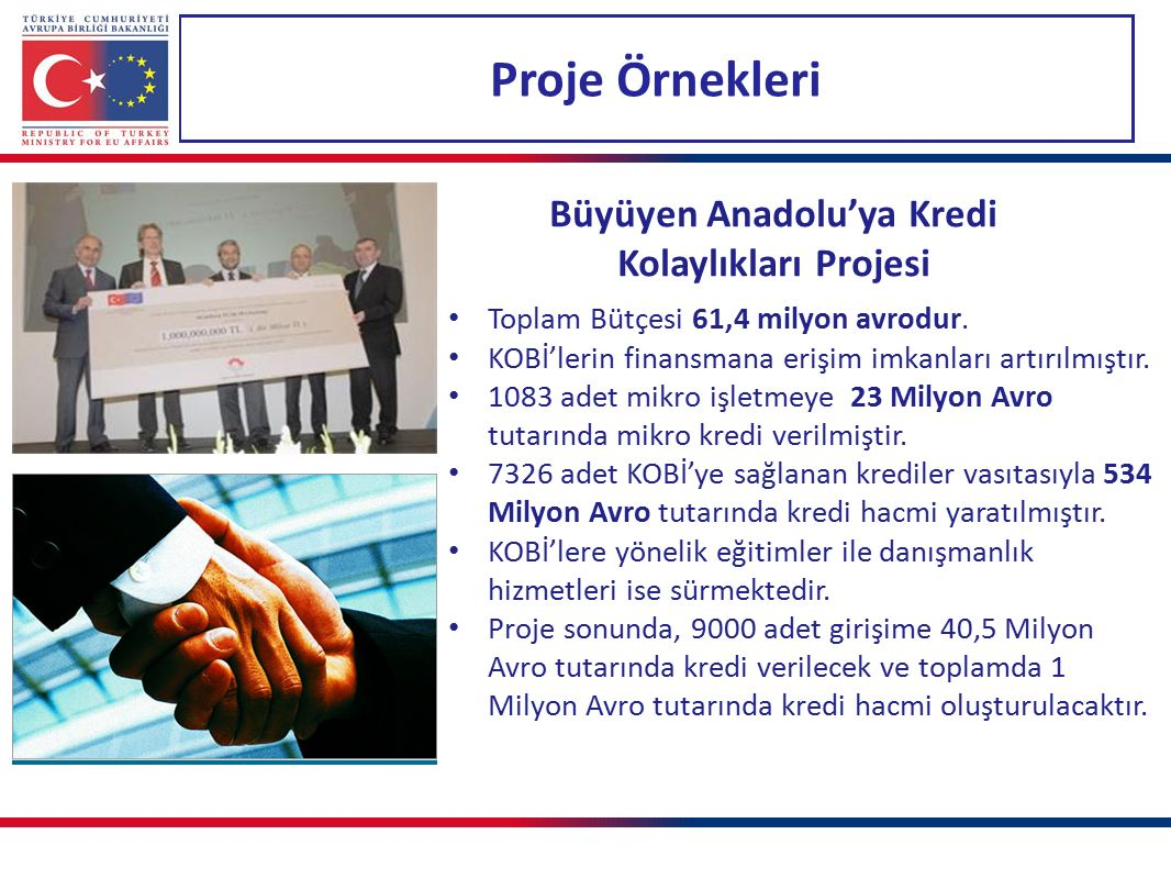 Proje Örnekleri Büyüyen Anadolu'ya Kredi Kolaylıkları Projesi Toplam Bütçesi 61,4 milyon avrodur. KOBİ'lerin finansmana erişim imkanları artırılmıştır
