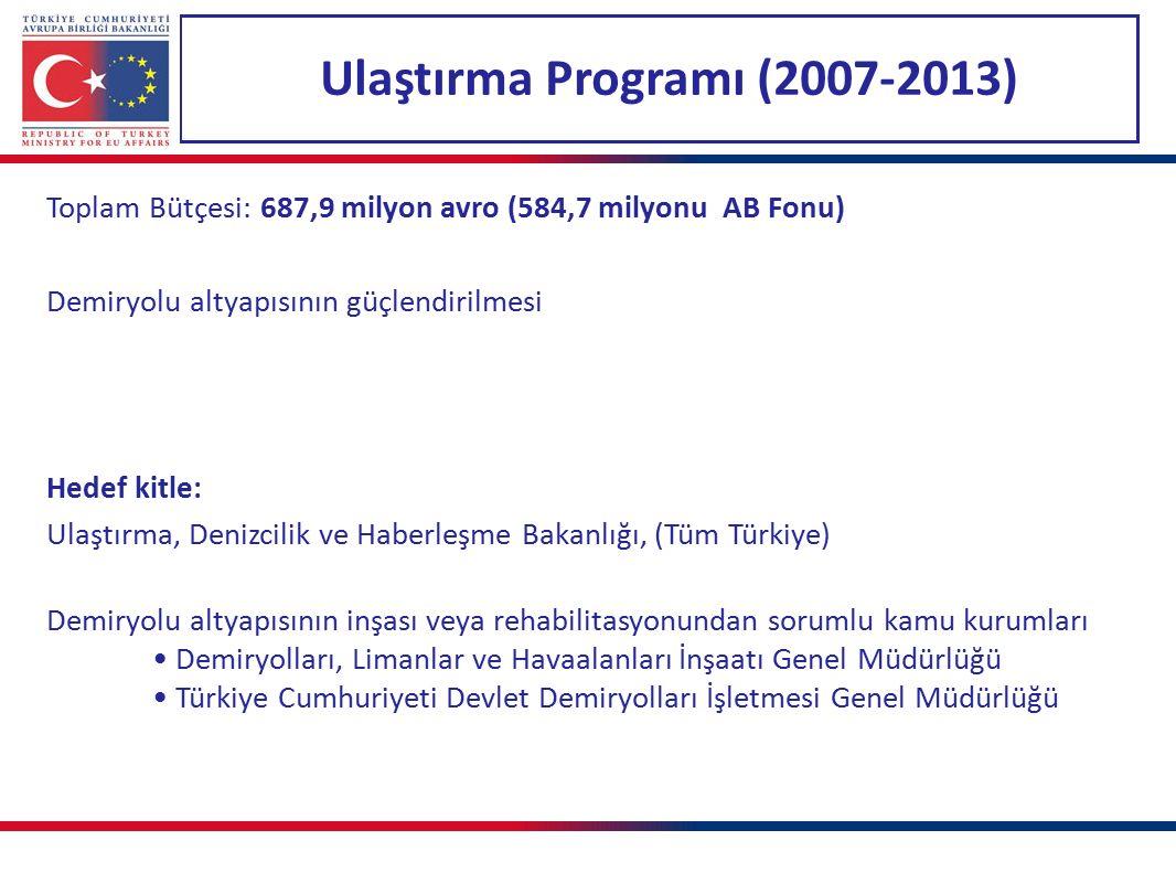 Ulaştırma Programı (2007-2013) Toplam Bütçesi: 687,9 milyon avro (584,7 milyonu AB Fonu) Demiryolu altyapısının güçlendirilmesi Hedef kitle: Ulaştırma, Denizcilik ve Haberleşme Bakanlığı, (Tüm Türkiye) Demiryolu altyapısının inşası veya rehabilitasyonundan sorumlu kamu kurumları Demiryolları, Limanlar ve Havaalanları İnşaatı Genel Müdürlüğü Türkiye Cumhuriyeti Devlet Demiryolları İşletmesi Genel Müdürlüğü