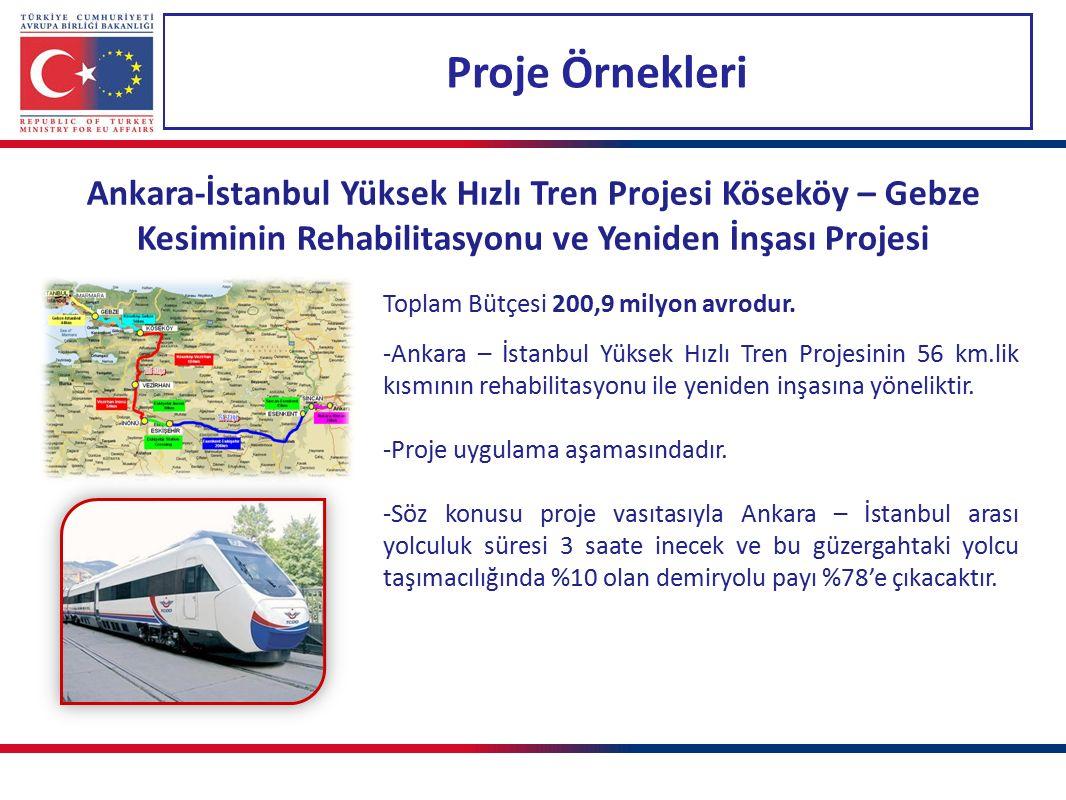 Proje Örnekleri Ankara-İstanbul Yüksek Hızlı Tren Projesi Köseköy – Gebze Kesiminin Rehabilitasyonu ve Yeniden İnşası Projesi Toplam Bütçesi 200,9 milyon avrodur.